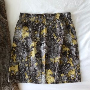 Talbots Gray Printed Skirt with Stretch Waistband